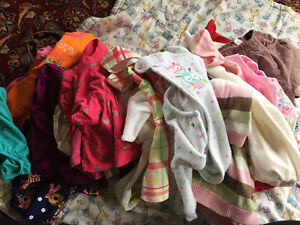 Lot of baby girl clothing, 6-12, 9, 9-12, and 12 mo sizes.