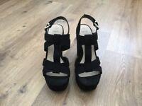 Black Platform Suedette Sandals Size 5 Wide Fit
