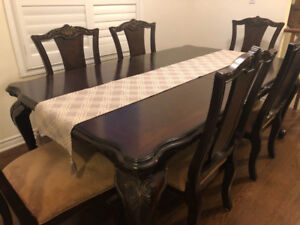 Dinning Table with 8 Chairs and hutch