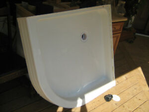 Fiberglass White Corner Shower Base
