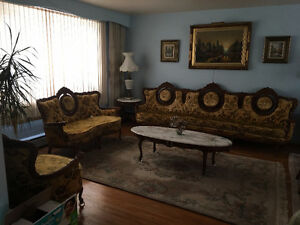 Couch, salon, futon, loveseat, coffee table