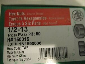 HEX NUTS 1/2 - 13, 50/BOX