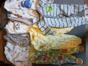 16 baby boy sleepers (0-3 and 3 month)