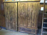 A Set of Solid Pine Wood Wardrobes