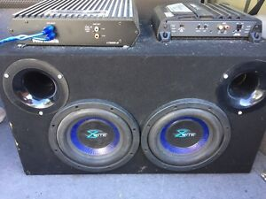 10 inch subwoofer with capacitor, amp, speaker amp