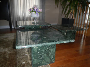 Green marble end tables