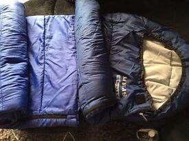 sleeping bag used twice (one on the left)