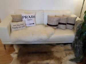 White Leather Sofa, Modern, Lounge, Couch 3 Three Seater, French Quinns Rocks Wanneroo Area Preview