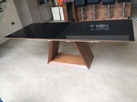 10 Seater Black Glass & Walnut Dining Table