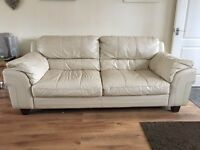 Cream Leather 3-seater sofa used