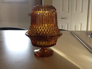 Old small glass candle holder