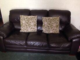 Harvey's brown leather 3 piece suite £95*