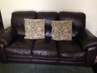 Harvey's brown leather 3 piece suite £95*