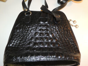 Fratelli Black leather bag / purse (crocodile pattern)