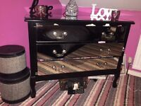 Black mirrored Chester drawers and dressing table