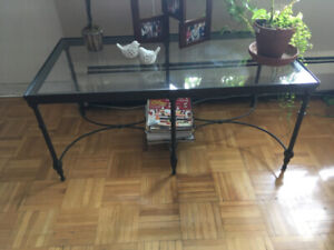 1 glass coffe table and 2 glass side tables