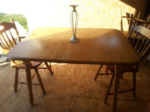 Maple table with two hardwood chairs -free delivery