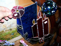 two hand made stain glass handing displays