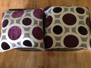 Purple, grey and off white Cushions