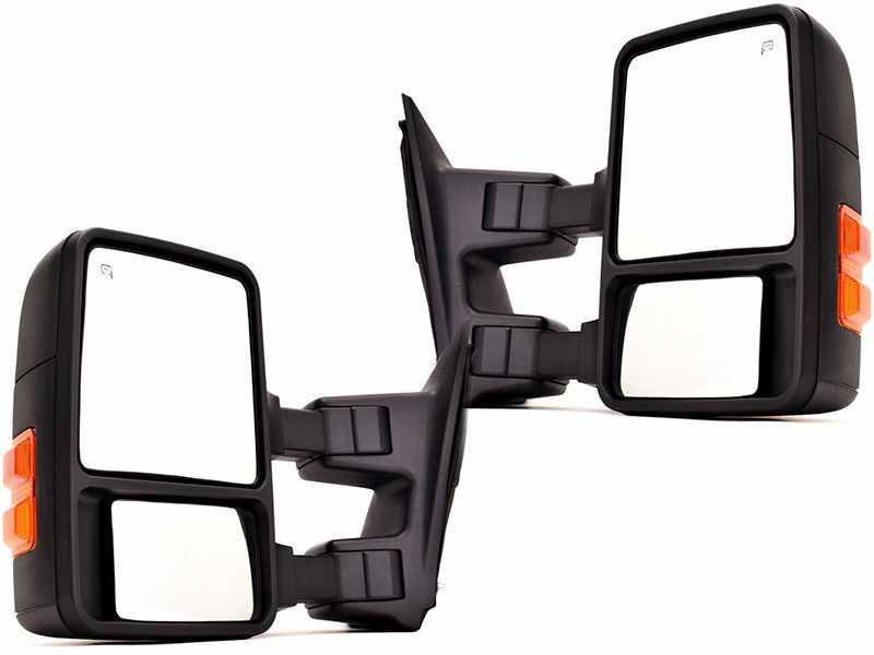 F-Series Pickup Truck Power Non-Heated Black Cap Mirror Right Left Side PAIR SET