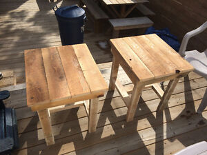 Rustic style side/end  tables made from reclaimed wood