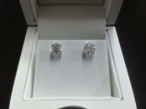 NEW CERTIFIED 1.03ct natural diamond 14k gold stud earrings