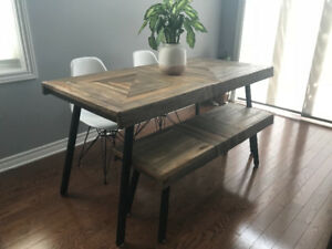 Not even a year old. Teak dining table, bench & chairs only $600