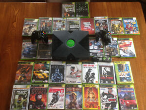 Original Xbox + 2 controllers +  over 25 games for sale
