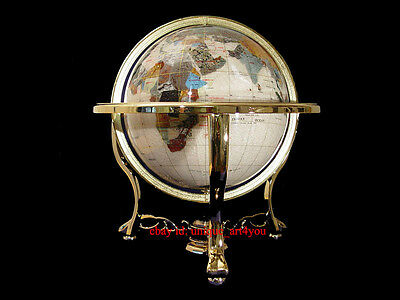 "13"" pearl ocean Gold 3- leg table stand Gem MOP Gemstone World MAP globe"