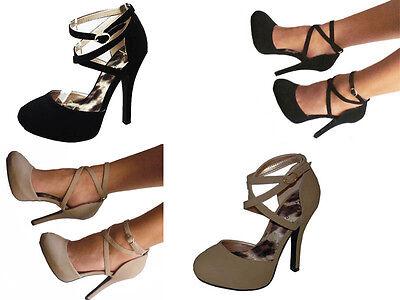 Black Taupe Platform Criss Cross Ankle Strap Stilettos Heels Pumps Shoes