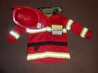 NEW: Firefighter Costume Play Set Size 3-6X, Hat & Jacket