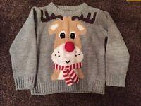 Mothercare boys Christmas jumper- Reindeer 2-3