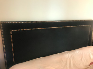 Black Fabric, Gold Studded King Size Bed Frame