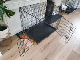 Dog crate double door black metal large