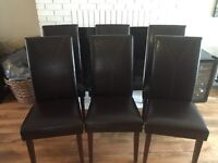 Excellent Condition !!! 6 dark brown parson chairs (350 or Bo)