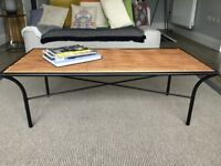 Coffee Table bamboo top with black metal legs