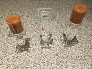 Elegant Crystal Candle Holder Set (new) & Matching Bowl