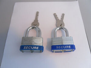 """TWO """"SECURE"""" 45 MM PADLOCKS FOR SALE"""