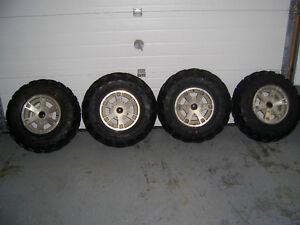 Canam rims with tires.