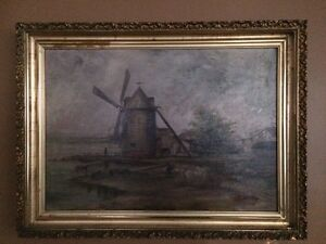 Antique Dutch Windmill painting signed