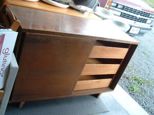 Wood horizontal chest with drawers and sliding doors