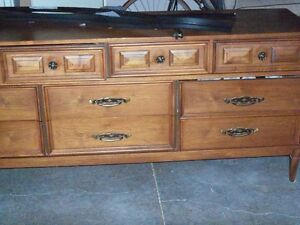 Antique Teak Wood Dresser/Full length mirror and Tall boy