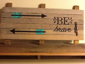 "JUST MADE WOOD SIGN ""BE BRAVE"" WITH GLASS BEADS"