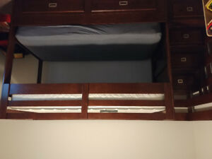 Kids dark stained wooden bunk bed for sale