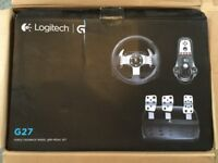 Logitech G27 Force feedback steering wheel with paddle shift. Manual gear shifter and pedal set