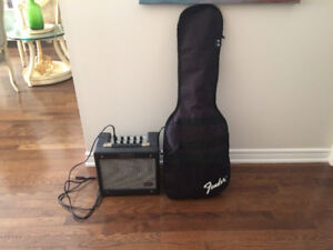Fender Squier Strat electric guitar and amp