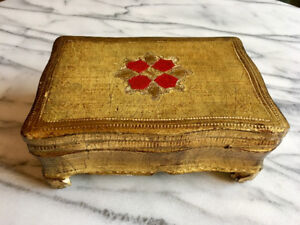 FLORENTINE JEWELRY BOX Gold Gilt Tole Wood Footed Base