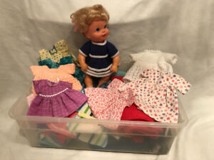 "Small (eight-inch) doll & hand-made doll clothes ""SOLD"""