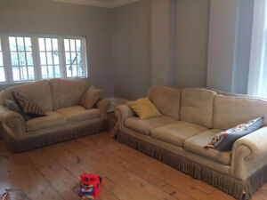 Down filled sofa and love seat