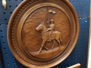 Vintage wooden craved RCMP Round Plaque